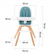 KINDERKRAFT maitinimo kėdutė 2in1 TIXI Turquoise KKKTIXITRQ0000