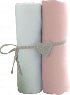 BABYCALIN paklodžių rinkinys su guma, balta/rožinė, 2vnt. 60x120 cm, BBC413714 BBC413714