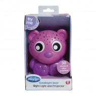 PLAYGRO naktinė lemputė-projektorius Meškiukas(rožinis), 0186422 0186422