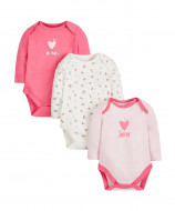 MOTHERCARE bodysuit long sleeves girl Mummy & Daddy pale pink 3 pack premature 518886 518886