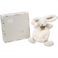 DOUDOU ET COMPAGNIE rabbit-blanket 26 cm, white and brown, DC2123 DC2123