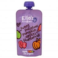 ELLA'S KITCHEN Eko saldžiųjų bulvių,obuolių, moliūgų, šilauogių tyrelė, 120g EK015