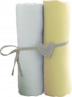 BABYCALIN paklodžių rinkinys su guma, balta/geltona, 2vnt. 60x120 cm, BBC413717 BBC413717