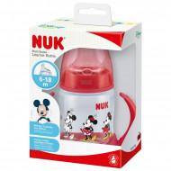 NUK mokomasis buteliukas su rankenėlėmis ir silikoniniu snapeliu 150ml 6-18m Mickey Red SK80 SK80