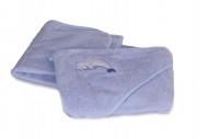 MILLI SOFT rankšluostis su gobtuvu mėlynos sp. Dolphin 100x100cm DOLPHIN
