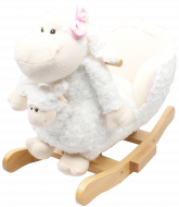 JOLLY RIDE white rocking lamb with pink bowknot, with baby puppet, JR2579B