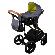 MILLI vežimėlis Way Plus 3in1 Grey-Light green 317