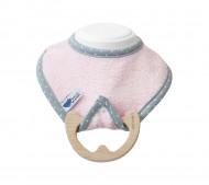 LULLALOVE seilinukas su mediniu kramtuku Pink SupeRRO Baby Eco P_SU_E_P