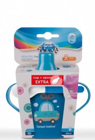 CANPOL BABIES rinkinys neišsipilantis puodelis Toys 250 ml + šaukštelis, 0170promexp 0170promexp