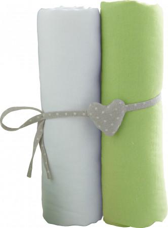 BABYCALIN paklodžių rinkinys su guma, šviesiai žalia 2vnt 60x120 cm, BBC413712 BBC413712