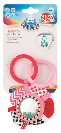 CANPOL BABIES minkštas žaislas su barškučiu Zig Zag Pink Ribbon 68/057_pin 68/057_pin