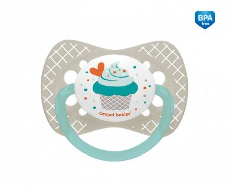CANPOL BABIES silikoninis simetrinis čiulptukas Cupcake, 0-6m pilkas, 23/282_grey 23/282_grey