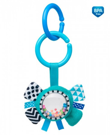 CANPOL BABIES minkštas žaislas su barškučiu Zig Zag Blue Ribbon 68/057_blu 68/057_blu