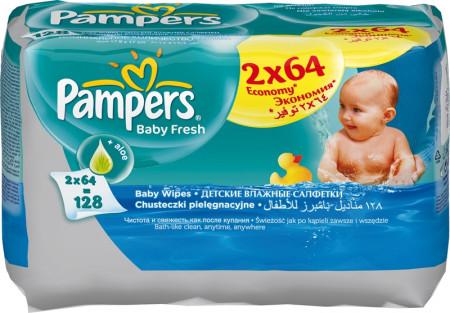 PAMPERS servetėlės Baby Fresh, 2x64 vnt. P05U915 P05U915