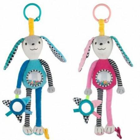 CANPOL BABIES minkštas pakabinamas žaislas Rattle and Mirror Long Ears, 68/061 68/061
