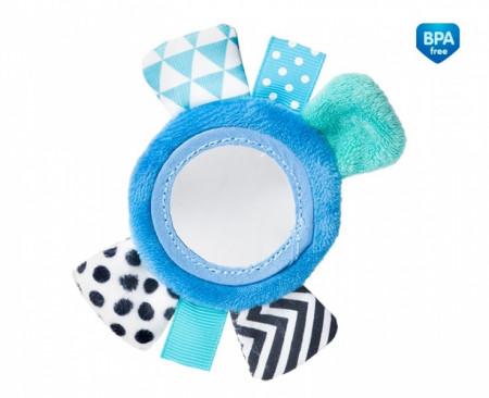 CANPOL BABIES minkštas žaislas su veidrodėliu ant riešo Zig Zag Blue 68/056_blu 68/056_blu