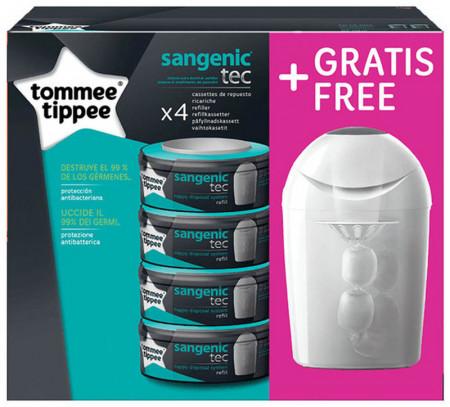 TOMMEE TIPPEE kasetės 4 vnt + sauskelnių konteineris Sangenic tec 82014503 82014503