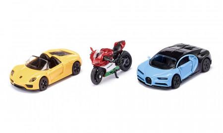 SIKU rinkinys, du automobiliai + motociklas, 6313 6313