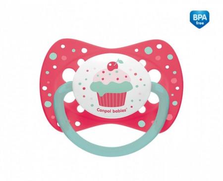 CANPOL BABIES silikoninis simetrinis čiulptukas Cupcake, 6-18m rožinis, 23/283_pin 23/283_pin