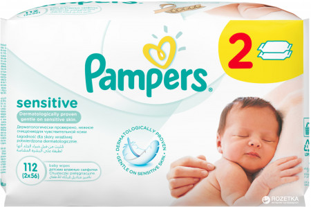 PAMPERS servetėlės Sensitive 2X56vnt P05U982 P05U942